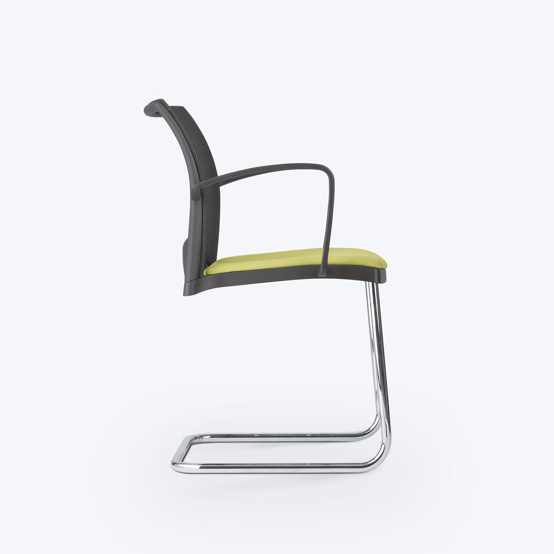 Linea visitor chair cantilever mesh back